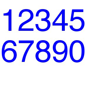 Single Numbers/Letters for Optimist BLUE (rounded)