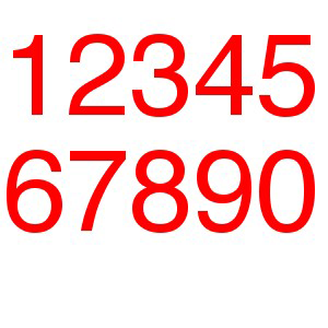 Single Numbers/Letters for Optimist RED (rounded)